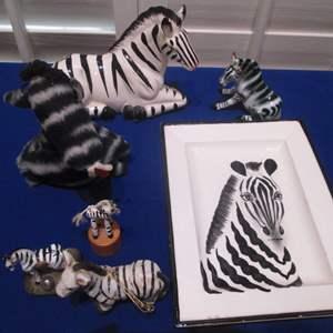 Lot # 95 - Zebra Sculptures & Fitz & Floyd Zebra-Themed Platter