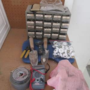 Auction Thumbnail for: Lot # 26 - Hardware Organizer with Full Drawers, Door Knobs, & Multimeter
