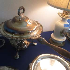 """Lot # 129 - Wallace Silver Plate Chafing Dish, """"Baroque"""" Pattern"""