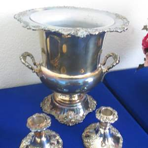 """Lot # 131 - Wallace Silver Plate Champagne Bucket & Candle Holders (2), """"Baroque"""" Pattern"""
