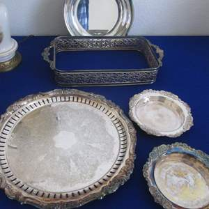 Lot # 132 - 5-Silver Plate Serving Pieces