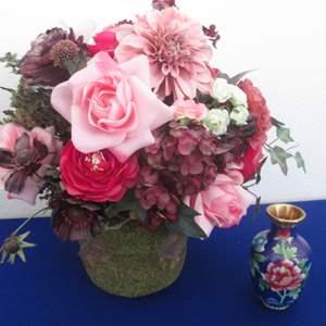 Lot # 136 - Floral Arrangement & Small Cloisonne Vase
