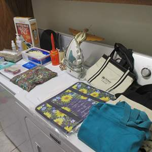 Lot # 182 - Heating Pad, Iron, Box of Latex Gloves + More!