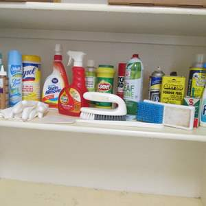 Lot # 187 - Miscellaneous Cleaning Supplies & Shelf