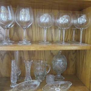 Lot # 194 - 10-Wine Stems & Variety of Serving Items