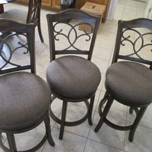Lot # 199 - 3-Bar Stools; Wood, Metal Trim & Upholstered Seats