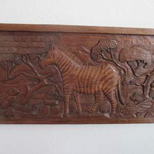 Lot # 201 - Wooden Carved Plaque & Table-Top Decor