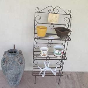 """Lot # 203 - 24"""" Baker's Rack, including Pots & Vase"""