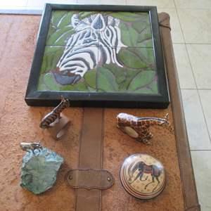 Lot # 280 - Zebra Figurines, Tile Tray ++