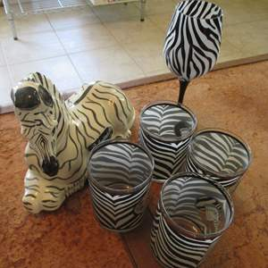 Lot # 281 - Zebra Glasses & Decanter