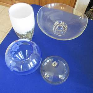Lot # 285 - Glass Serving Items & Vases