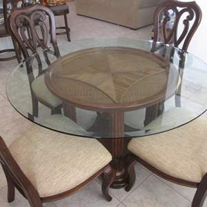 """Lot # 178 - 54"""" Round Glass Table Top on Pedestal Base/4-Chairs"""