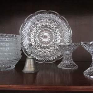 Lot # 213 - 6-Small Glass Bowls, Candlesticks, Platter & Bell, 10 Pieces