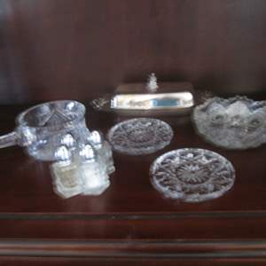 Lot # 215 - Butter Dish, Salt/Peppers, Plates & Serving Bowls, 9-Pieces