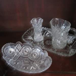 Lot # 218 - 4-Serving Pieces; Pitcher, Vase, Tray & Bowl