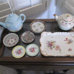 Lot # 222 - Vintage Tea Pots, Platter &Decorative Plates
