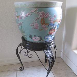 """Lot # 226 - Asian-Themed Pot on Stand, 15"""" X 26"""" high"""