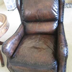 Lot # 238 - Bernhardt Leather Recliner, Nail-Tack Detailing