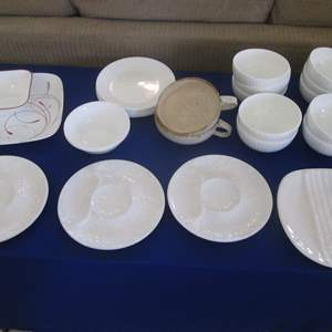Lot # 320 - Assorted China & Dishes; 9-Corelle Plates, 10-Bone China Bowls + Serving Pieces