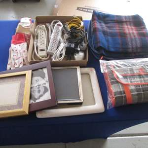 Lot # 10 - Blankets, Picture Frames & Electric Supplies