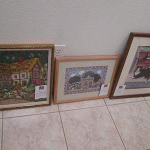 Lot # 62 - 3-Framed Pictures & Needlepoint