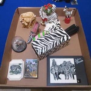 Lot # 96 - A Box Full of Zebra Decor and Wall Art