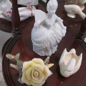 Lot # 113 - Porcelain Figurines & Floral Sculpture