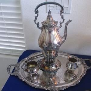 "Lot # 127 - Wallace Silver Plate Coffee Service, Creamer/Sugar & Tray, ""Baroque"" Pattern"