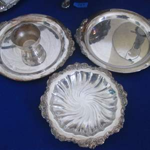 Lot # 130 - Silver Plate Serving Pieces (3)