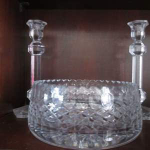 Lot # 212 - Candlesticks & Large Glass Bowl, 3-Pieces