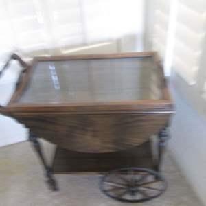 Lot # 221 - Serving/Tea Cart, Drop Sides & Removable Tray