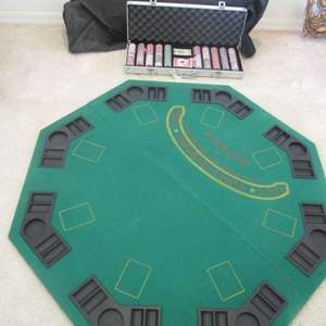 Lot # 241 - Poker Table Top & Case with Cards & Chips