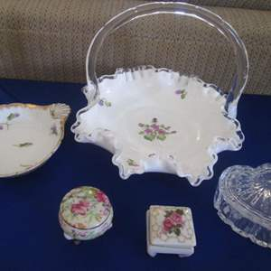Auction Thumbnail for: Lot # 260 - Fenton Basket, Limoges Platter, 2-Trinket Boxes + Glass Heart Box