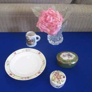 Lot # 261 - 2-Covered Boxes, Plate, Vase, Chillon Castle Mug