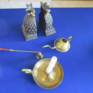 Lot # 272 - Bookends, Candle Holder & Snuffer +