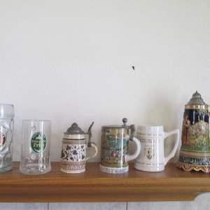 Lot # 276 - 4-Beer Steins & 2-Beer Mugs