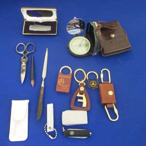 Lot # 301 - Compass, Key Chains, Pocket Knives, Letter Opener +++