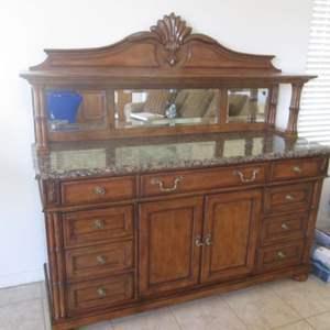 Lot # 308 - Drexel Heritage Buffet/Sideboard/Bar; Granite Top, Mirror Back & Many Details