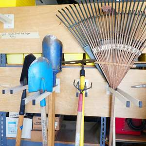Lot # 204- Shovels, Rakes, Post hole digger and other gardening tools