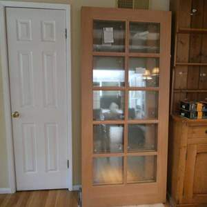 Lot # 5- 2 Brand new Rogue Valley solid wood door with clear window panes.