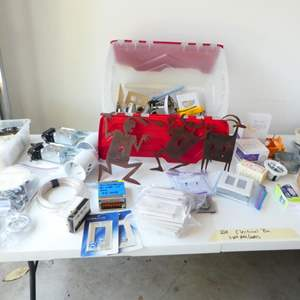Lot # 228- Electrical bin- can lights, switches, decorative &  plate covers