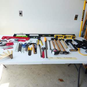 Lot # 242- TOOLS! Digital level and Tape, more tools