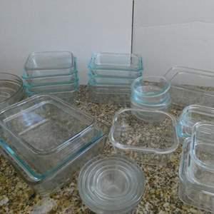 Lot # 30-Glass Pyrex bowls, baking pans with matching lids! Never run out!