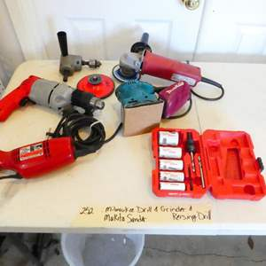 Lot # 252-Milwaukee drill and grinder, Makita sander, Reversing drill