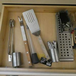Lot # 31- BBQ utensils and many more miscellaneous kitchen items.