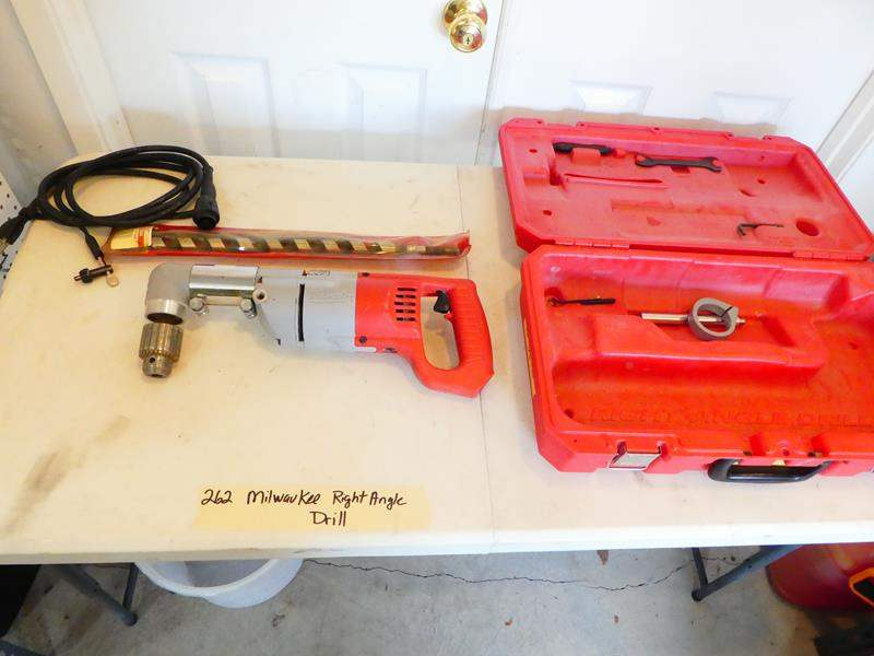 Lot # 262-Milwaukee right angle drill and bits (main image)
