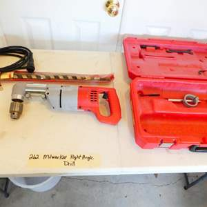 Lot # 262-Milwaukee right angle drill and bits