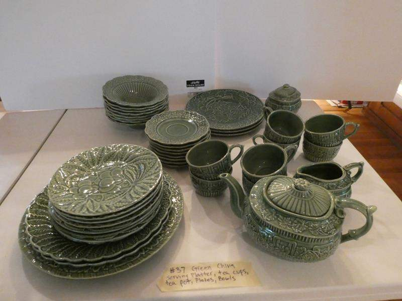 Lot # 37- Green china with serving ware and tea pot, tea cups (main image)