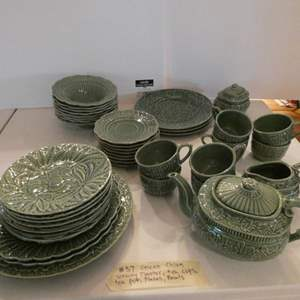 Lot # 37- Green china with serving ware and tea pot, tea cups