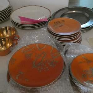 Lot # 44- large lot of orange and gold china